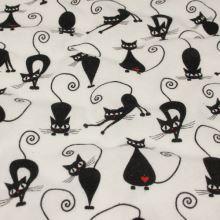 Flanel bílý, černé kočky, š.160