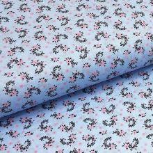 Bavlněné plátno P0445 světle modré, růžový drobný květ, š.140