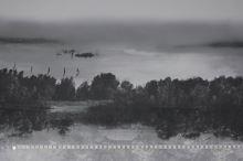 Šifón šedo-čierny, odraz stromov na hladine, š.145