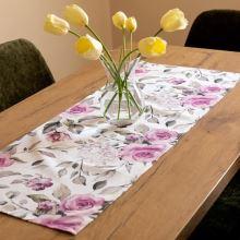 Štola krémová, růžové růže, 40x100 cm