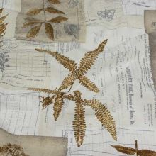 Dekoračná látka béžovo-biela, motív listy, š.140