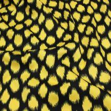 Bavlna černá, žlutý vzor, š.145