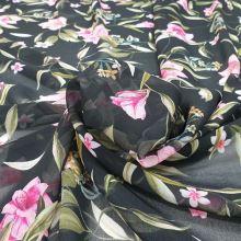 Šifón čierny, ružové kvety, š.145
