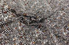 Šatovka 10530 čierno-biela, hnedý vzor š.140