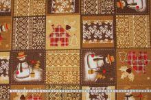 Vánoční dekorační látka béžovohnědá, š.140
