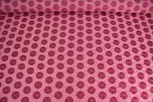 Taft růžový, výšivka kola š.145