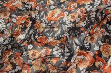 Šifón čierny, oranžový kvet š.150