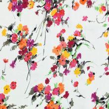 Teplákovina nepočesaná bílá, barevné květy, š.145