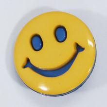 Knoflík dětský žluto-modrý, smajlík, 18 mm