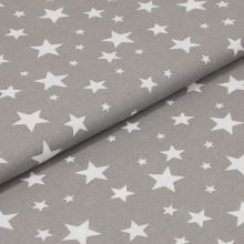 Bavlněné plátno šedé, bílé hvězdy, š.160