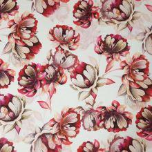 Úplet krémový, béžovo-ružové kvety, š.160