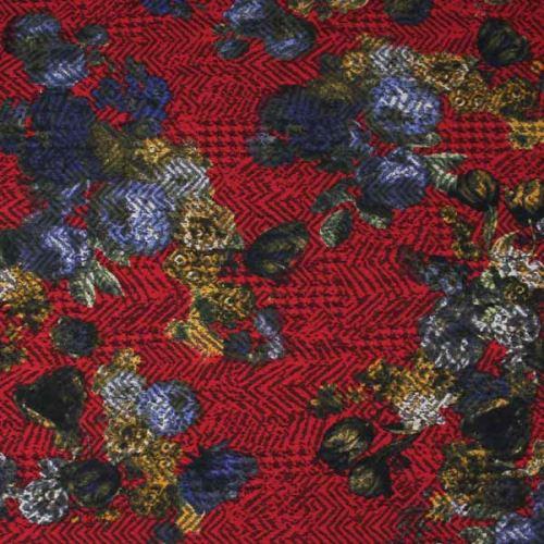 Kostýmovka červená 15196, barevný květ, š.145