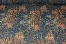 Šifón modro hnedý, zvierací vzor š.145