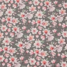 Dekorační látka šedá, růžové květy, š.140