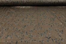 Šatovka N0078 hnědá, černý tisk, š.140