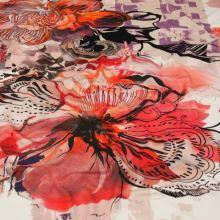 Úplet červeno-ružový, veľký kvetinový vzor, š.155